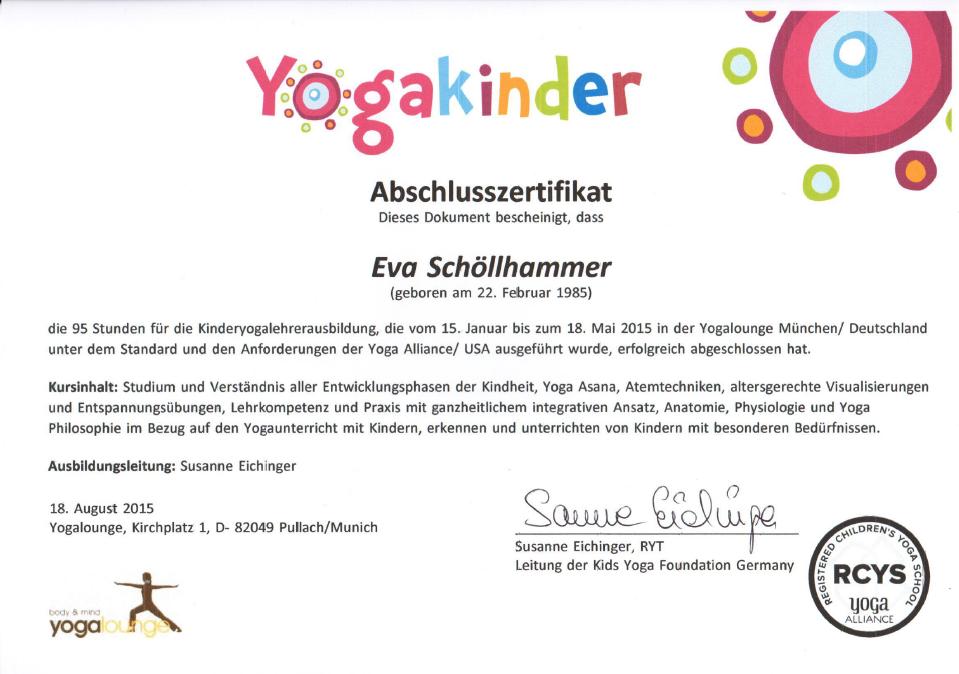 Yoga Zertifikat